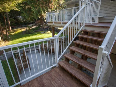 2 deck levels and stair with waterproof vinyl decking