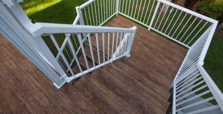 FINISHED DECK AND DECK STAIRS WITH TUFDEK DESIGNER BIRCH VINYL PLANK FLOORING