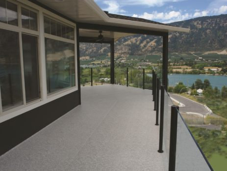 Finished wrap around deck protected with waterproof vinyl flooring