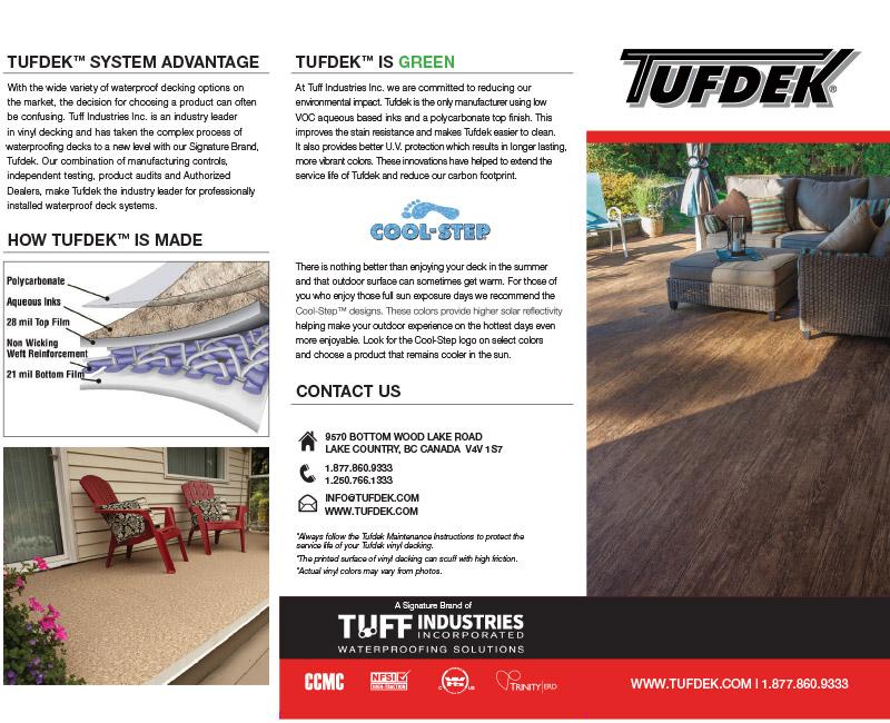Tufdek™ Waterproof Decking Brochures & Product Profile Pages