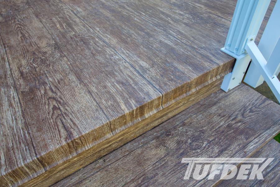 Tufdek Designer Birch Plank | Heat Welded To PVC Flashing Stair Edge
