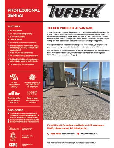 Tufdek Product Advantage Data Sheet