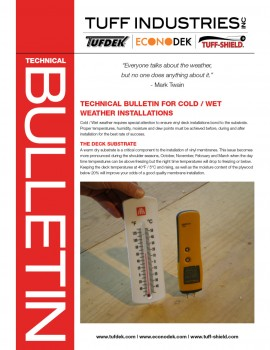 Technical Bulletin for Cold/Wet Weather Installation