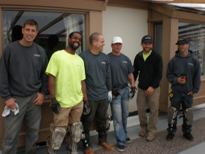 6 guys from FloorTech California against wall