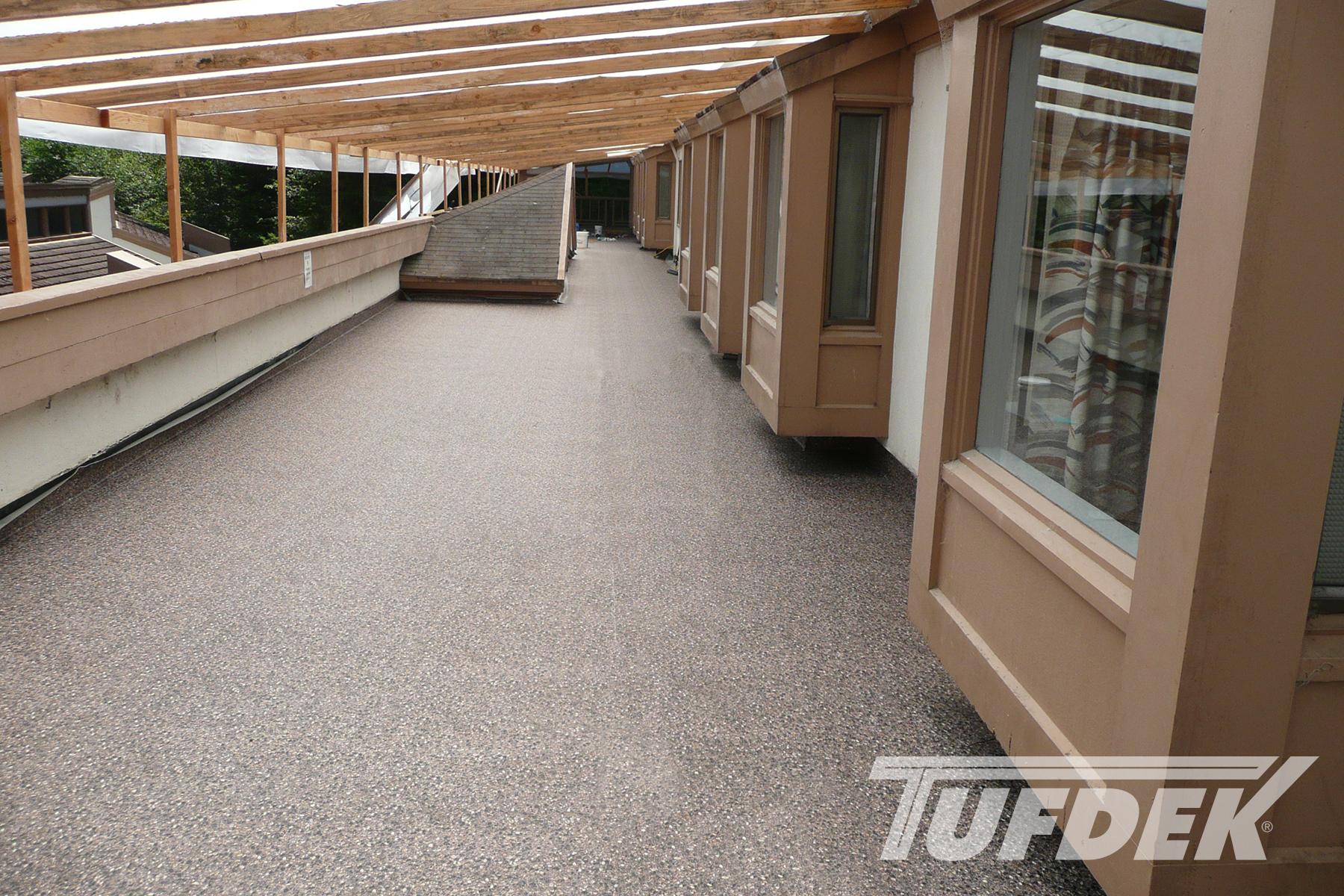 Commercial waterproof vinyl deck photo gallery by tufdek for Vinyl decking material