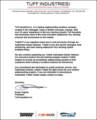letter from tufdek president