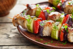 Plate of shish kabob for BBQ vinyl patio parties - Tufdek