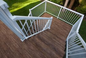 Finished deck and deck stairs with Tufdek Designer Birch Vinyl Plank Flooring