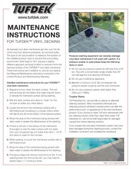 Maintenance Instructions - Tufdek Vinyl Decking