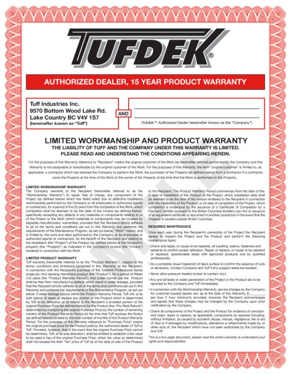 Tufdek Single-Ply 15 Year Product & 5 Year Labor Warranty